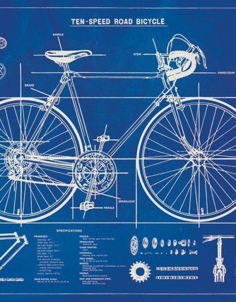 VINTAGE POSTER - Blauwdruk Fiets (70x50cm)