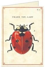 VINTAGE GREETING CARD - Thank You - Ladybug