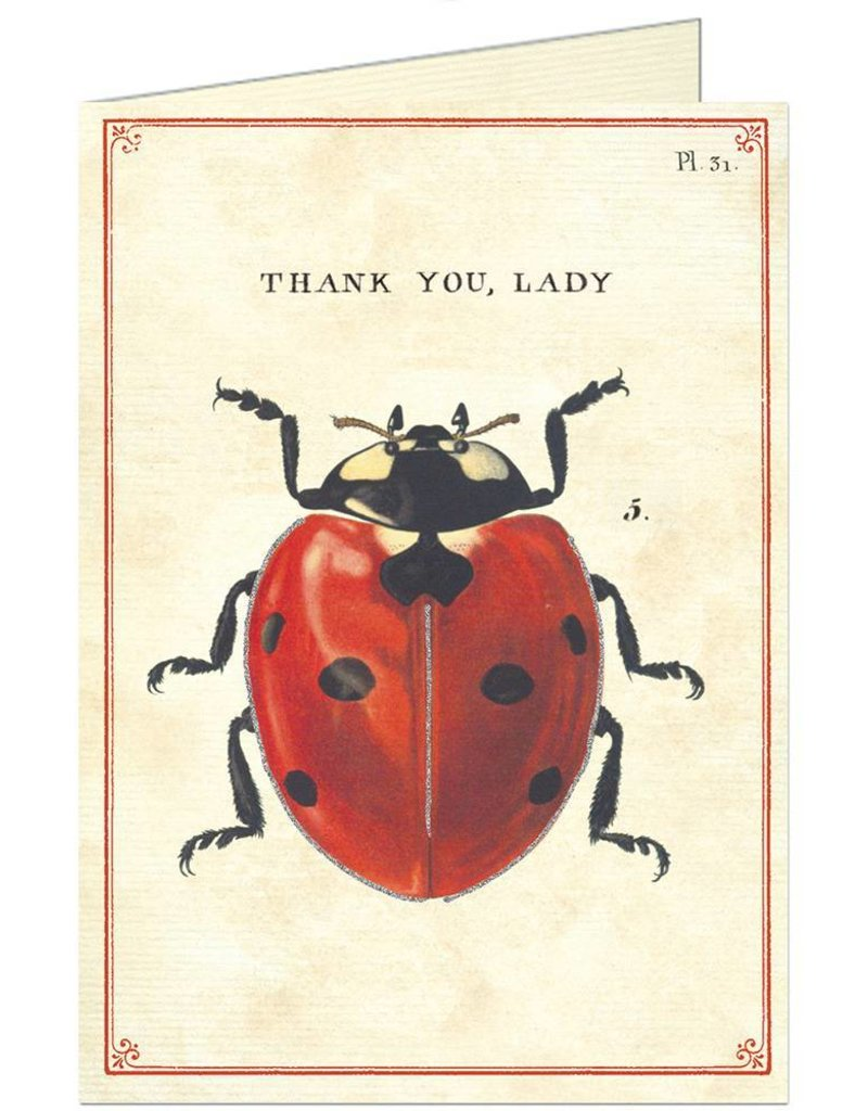 CARTE DE VOEUX VINTAGE - Thank You - Coccinelle