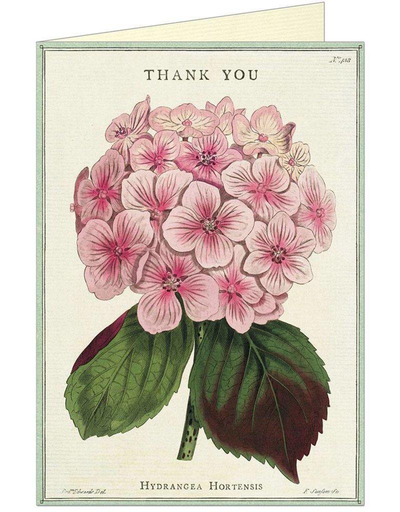 VINTAGE GREETING CARD - Thank You - Hydrangea
