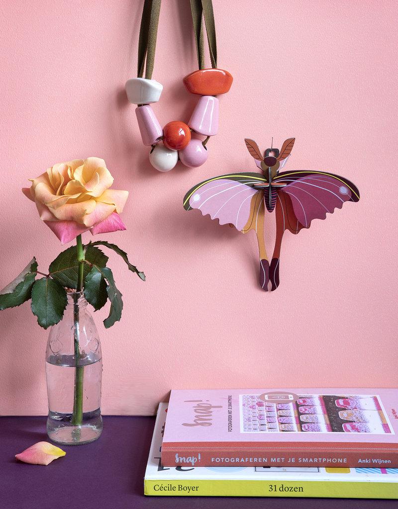 DIY DECORATION MURAL - Papillon-Comète de Madagascar Rose