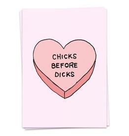 KAART BLANCHE GREETING CARD - chicks before dicks