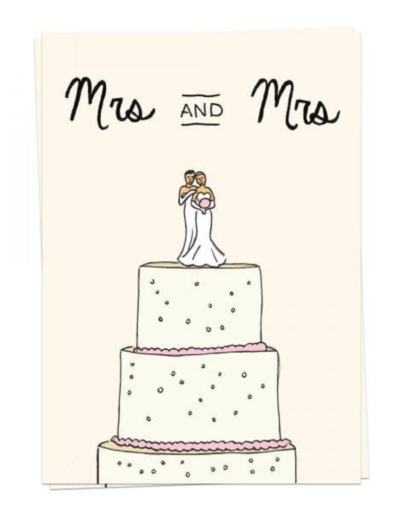 KAART BLANCHE WENSKAART - Mrs and Mrs Wedding Cake
