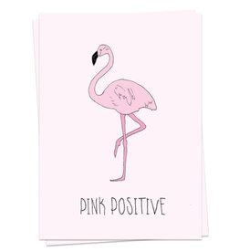 KAART BLANCHE WENSKAART - Pink Positive Flamingo