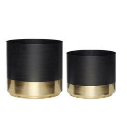Hubsch Pot met brass voet, zwart/brass s/2