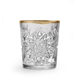 Hobstar Old Fashioned Glass with Golden Edge