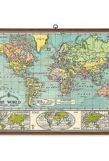 PLAQUE SCOLAIRE VINTAGE - Carte du Monde (70x100cm)