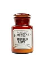APOTHECARY GLASS CANDLE - Geranium & Basil 8 oz