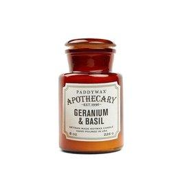 APOTHECARY GLAZEN KAARS - geranium & basilicum 226g