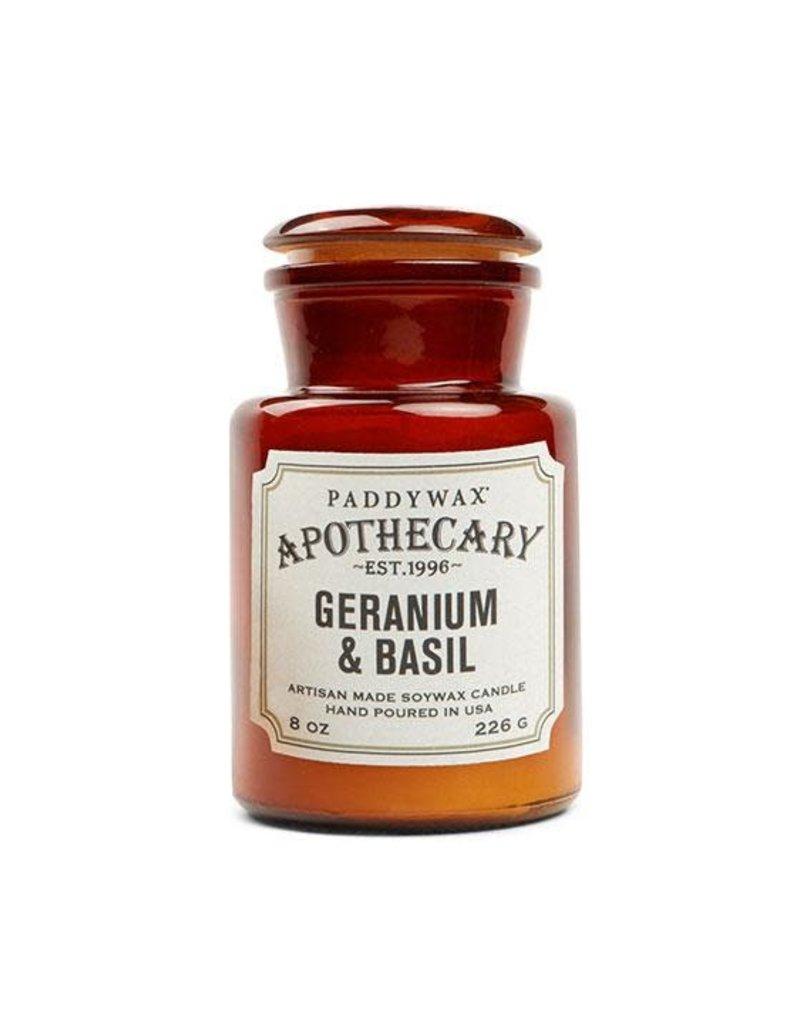 APOTHECARY - Glazen Kaars  - Geranium & Basil (226g)