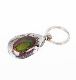 Animaux Spéciaux Sleutelhanger Smaragd groen-roze kever