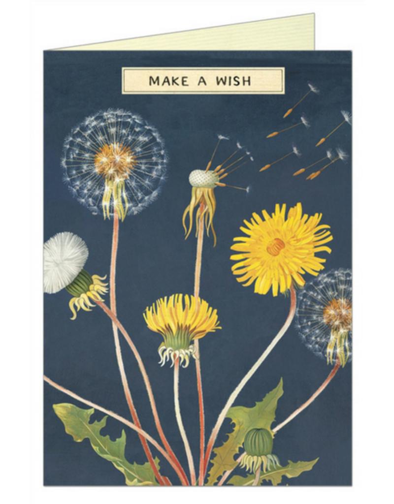VINTAGE WENSKAART - Make a Wish - Paardenbloem