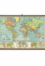 VINTAGE SCHOOLPLAAT - Wereldkaart (70x100cm)