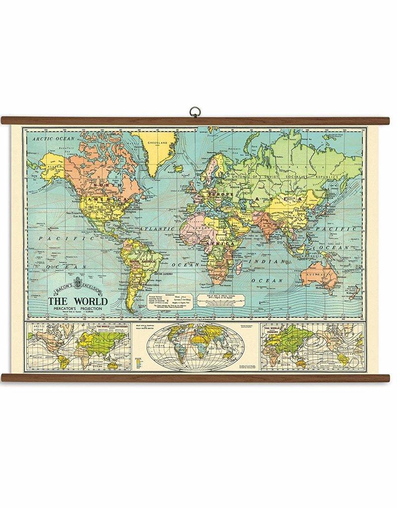 VINTAGE SCHOOL CHART - World Map (70x100cm)