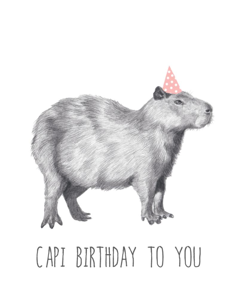 Animaux Spéciaux POSTKAART - Capi Birthday to You