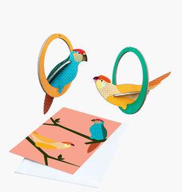 POP-OUT CARD - Perruches Balançantes