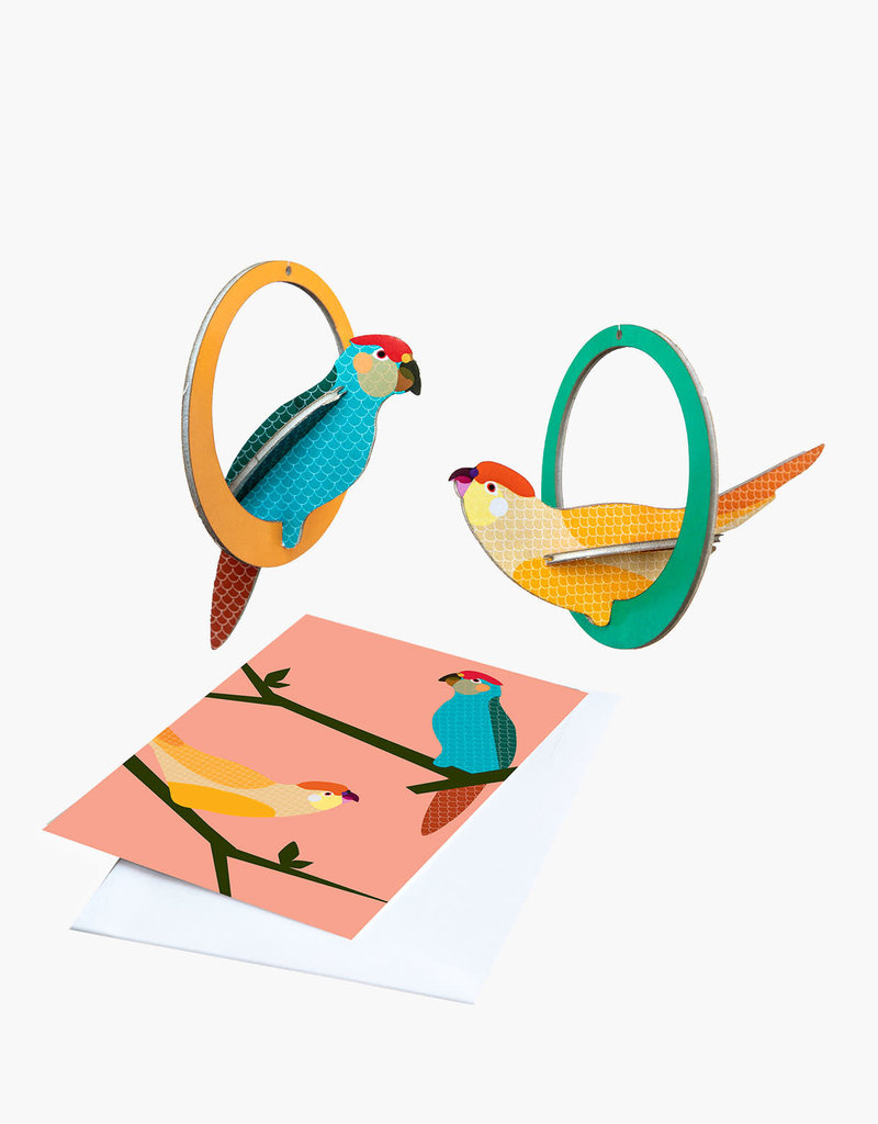 POP-OUT CARD - Swinging Parakeets