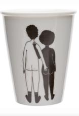 PORSELEINEN BEKER - white man & black woman