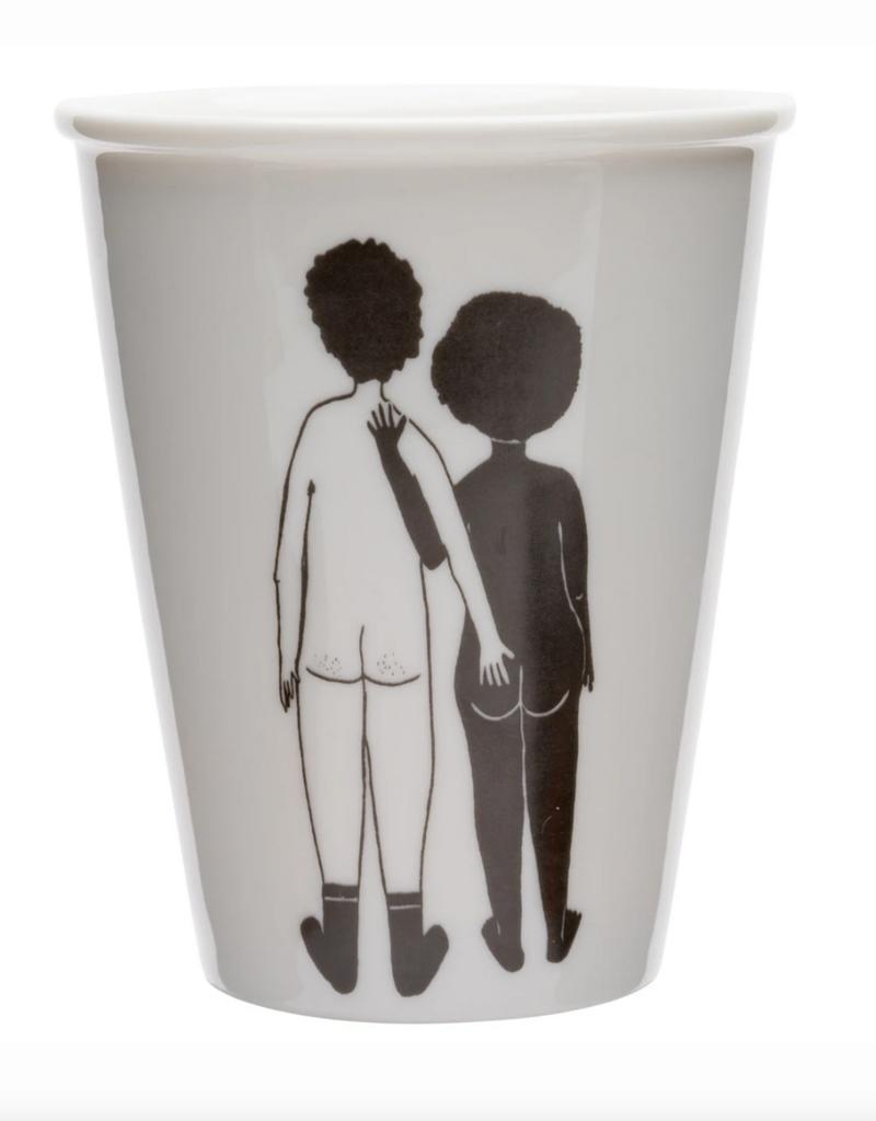 TASSE EN PORCELAINE - white man & black woman