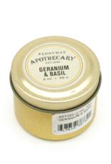 APOTHECARY - Small Tin Candle - Geranium & Basil - 56g
