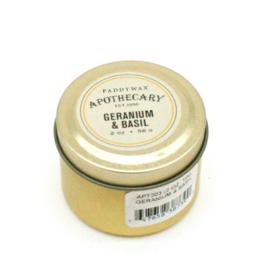 APOTHECARY - Petite Bougie en Etain - Geranium & Basil SMALL - 56g