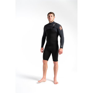 C-Skins C-Skins Session 3:2 Mens GBS Chest Zip Steamer BACK/CARBON/WARM RED