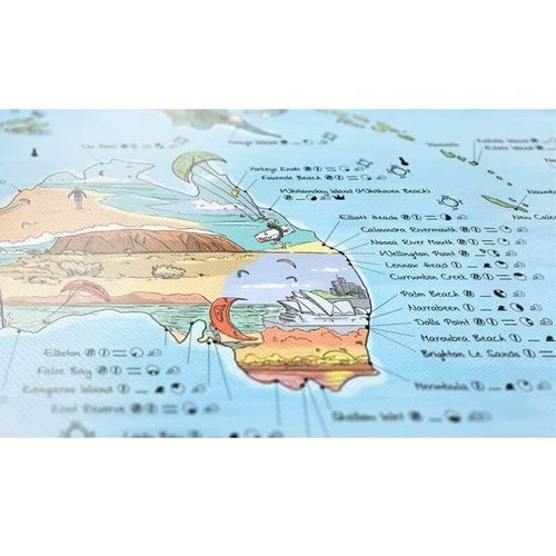 Awesome Maps Kitesurf Map Wereld  re-writable