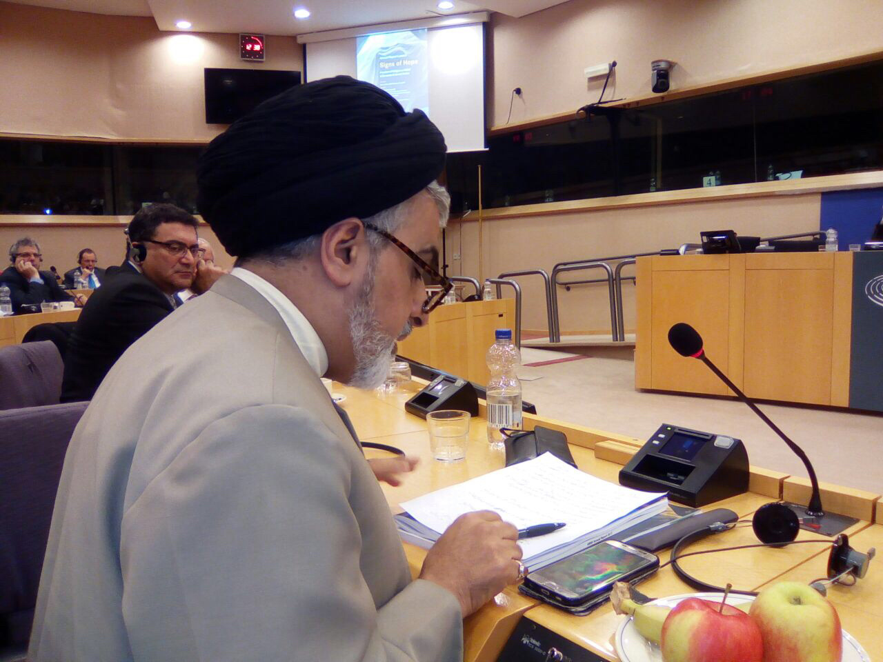 Through the link below it is possible to listen to the words of Seyedzyaoddin Salehi