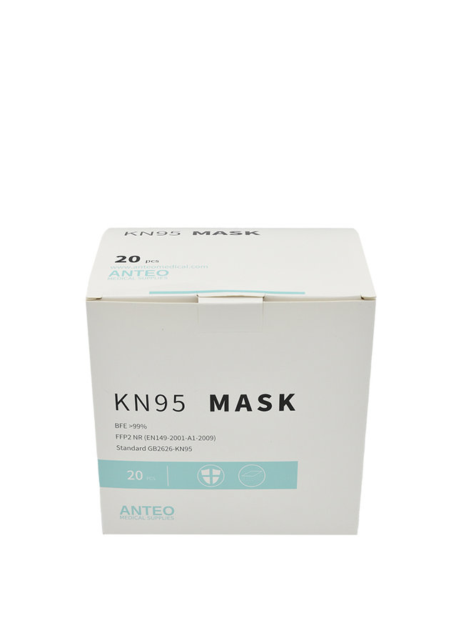 Máscara de proteção respiratória KN95 / FFP2 - modelo 1, caixa de 20 máscaras