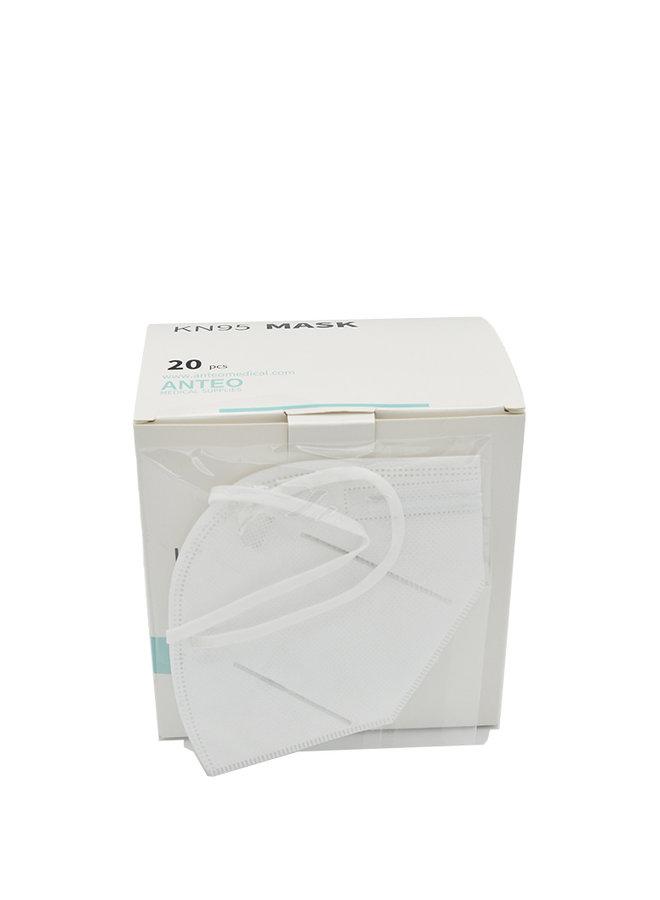 Máscara bucal KN95 / FFP2 - Modelo 1, máscara embalada individualmente