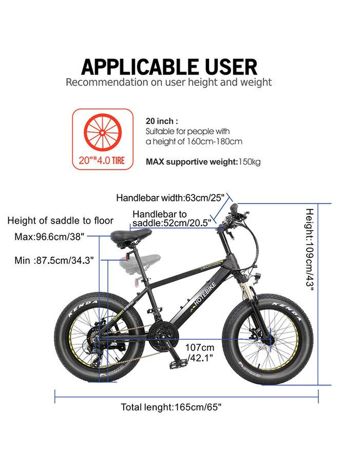 "HOTBIKE -Fat tire E-bike (matte black), aluminum frame and 20 ""x 4"" tires"