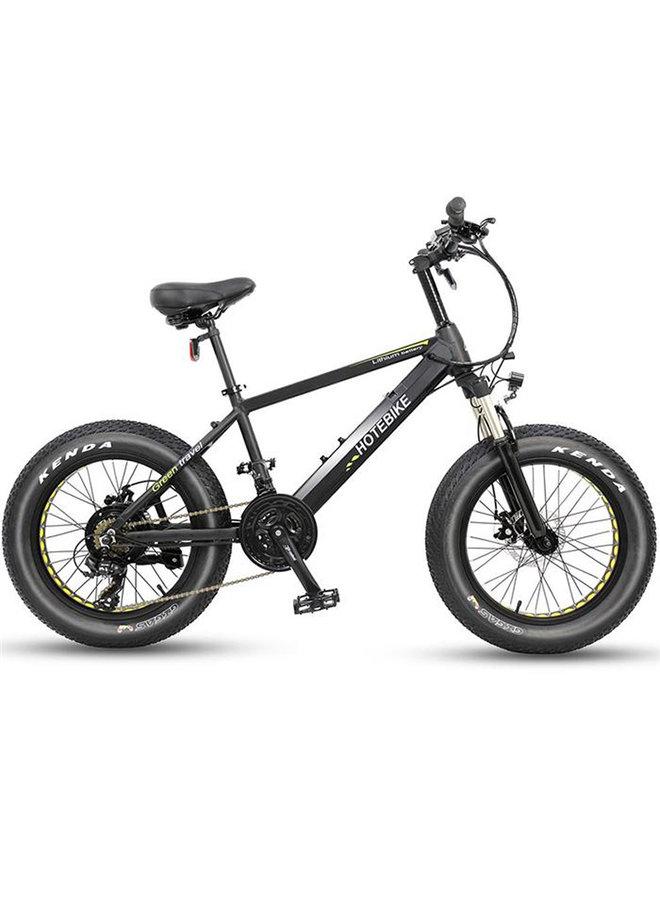 """HOTBIKE -Fat tire E-bike ( mat zwart), aluminium frame en banden van 20"""" x 4"""""""