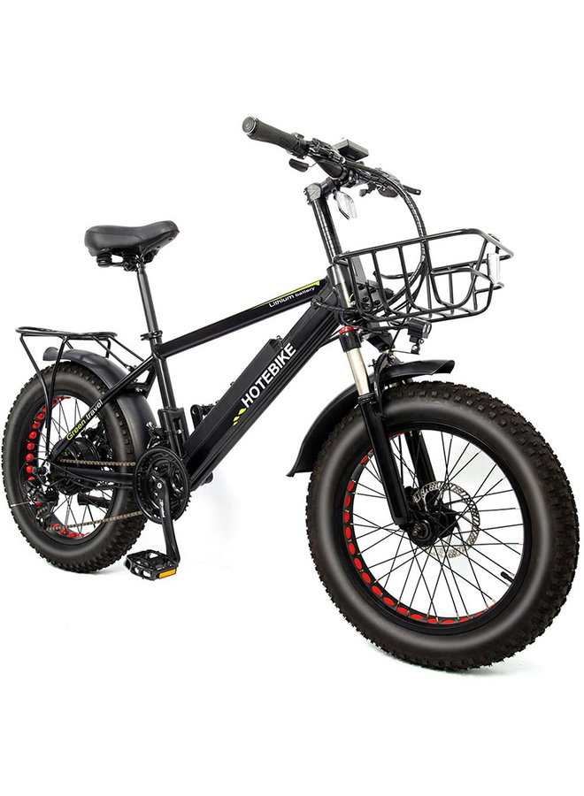 HOTBIKE -Fat Tire E-bike (negro mate) - opción completa