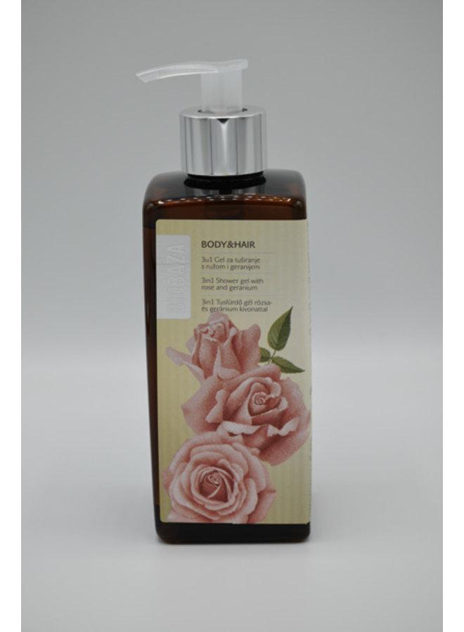 BIOBAZA BODY&HAIR 3 in 1, Rose and Geranium, 400 ml