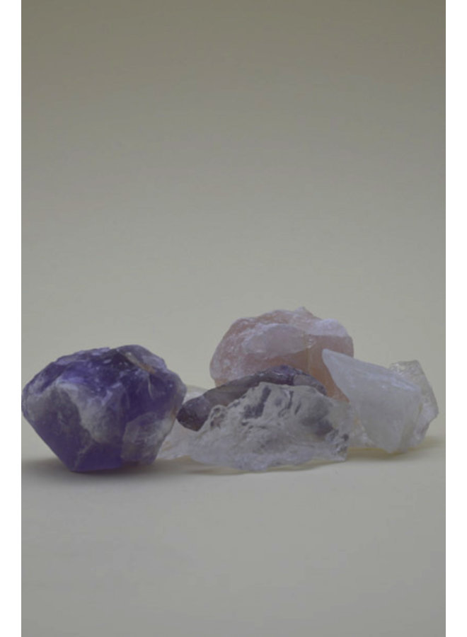 Crystal for drinkwater, amethist, quartz & rose quartz