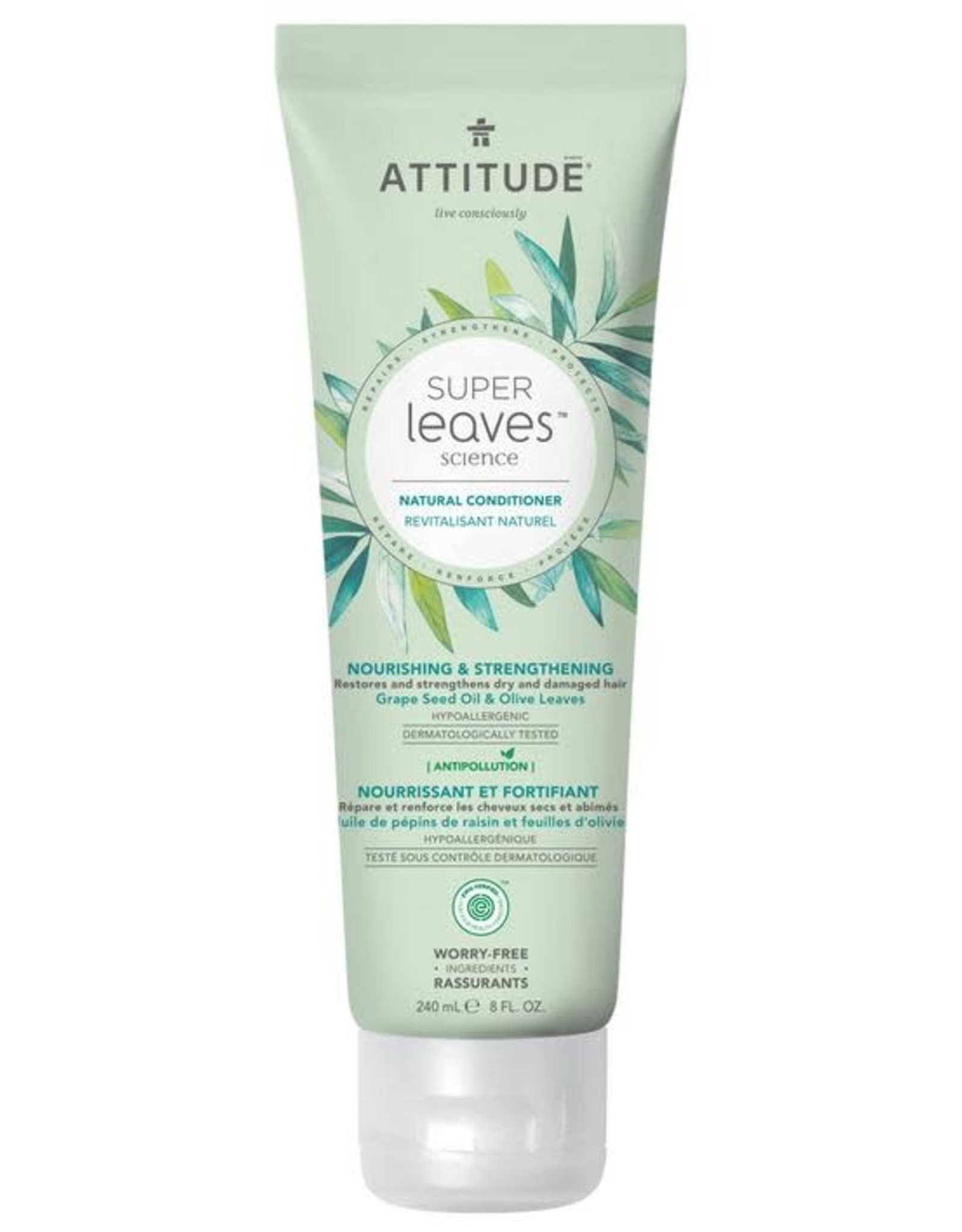 Attitude Super Leaves Natural Conditioner Nourishing & Strengthening Grape Seed Oil & Olive Leaves 240ml