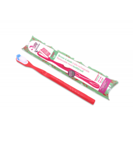 Lamazuna Tandenborstel Medium met vervangbaar kopje - Rood