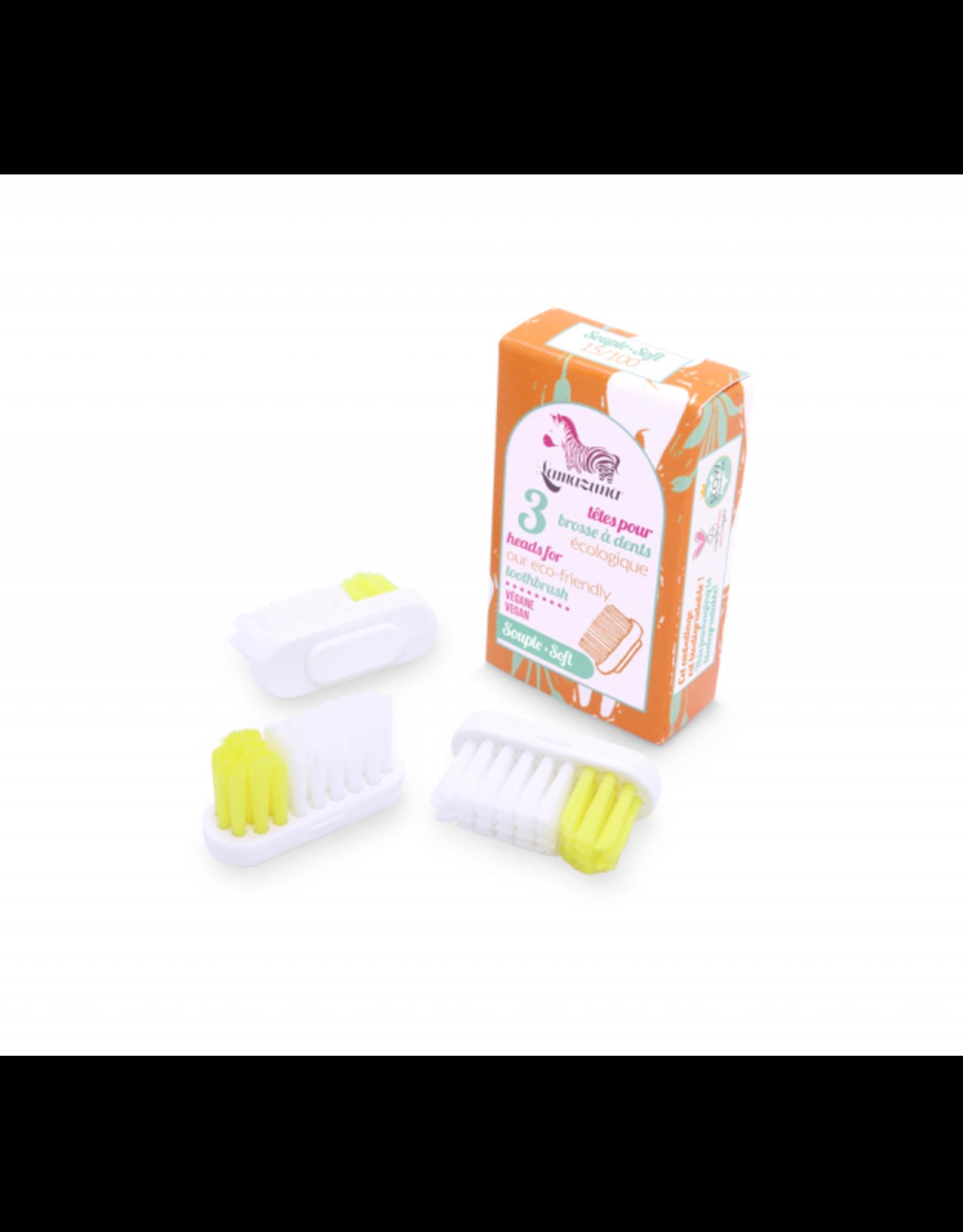 Lamazuna borsteltjes voor Tandenborstelhouder Zacht - 3 stuks