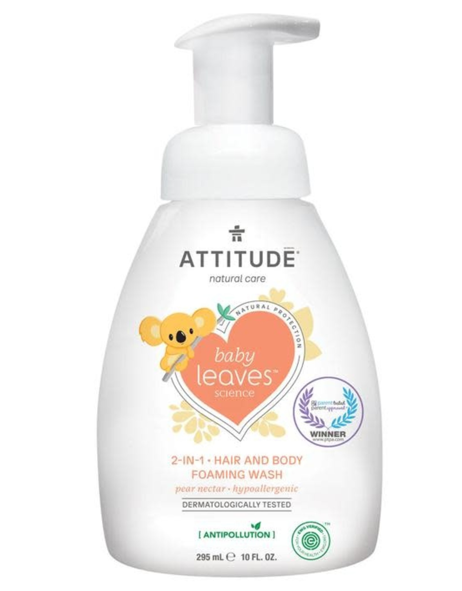 Attitude Attitude Baby Leaves 2 in 1 Hair & Body foaming wash pear nectar 295 ml
