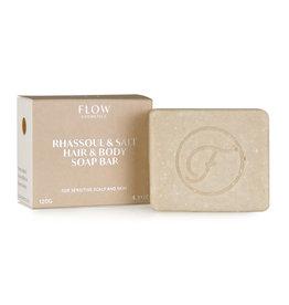Flow Cosmetics Shampoo Soap Bar Rhassoul & Salt voor gevoelige hoofdhuid en droge huid 120 g