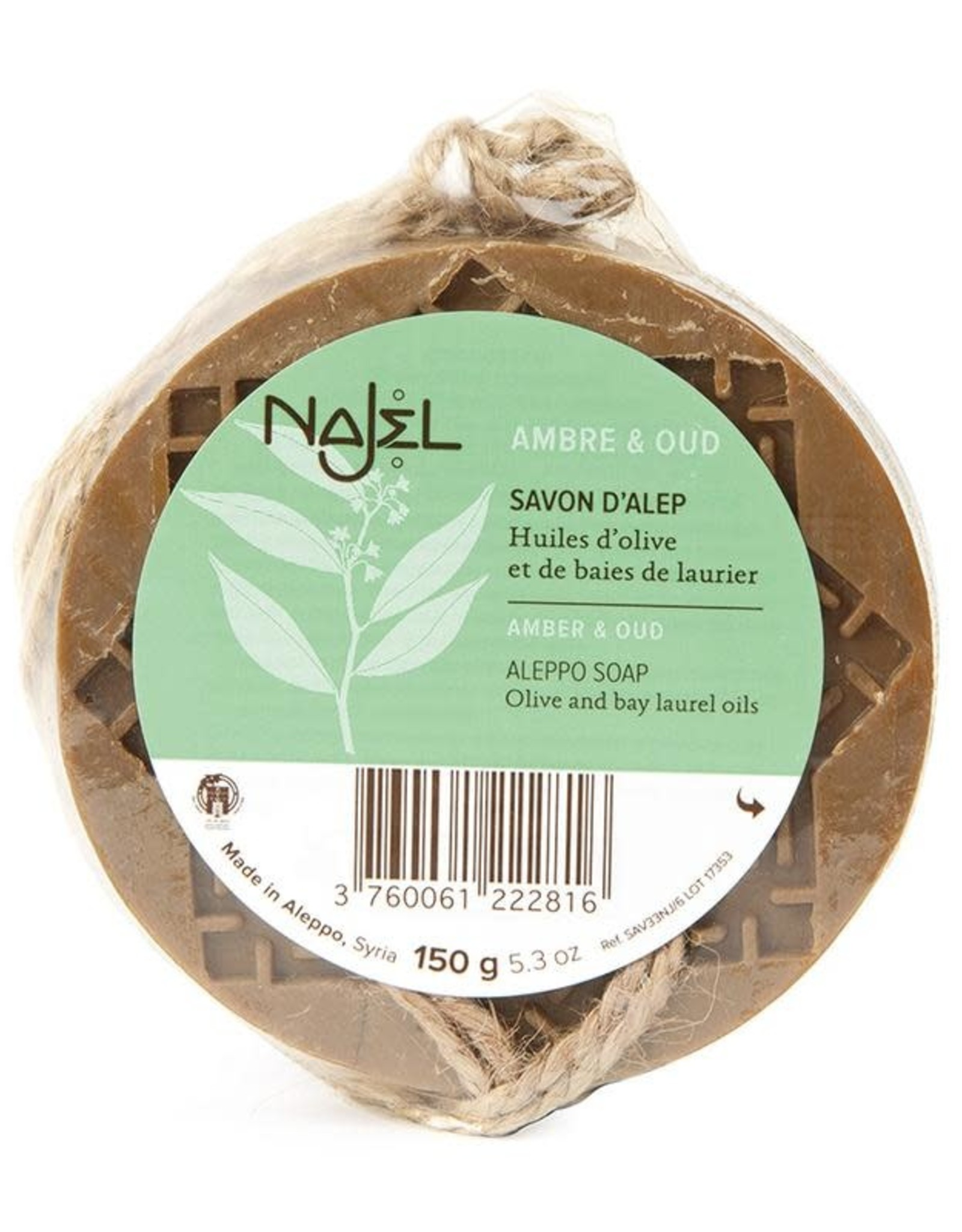 Najel Aleppo zeep amber oud aroma aan koord 150 g