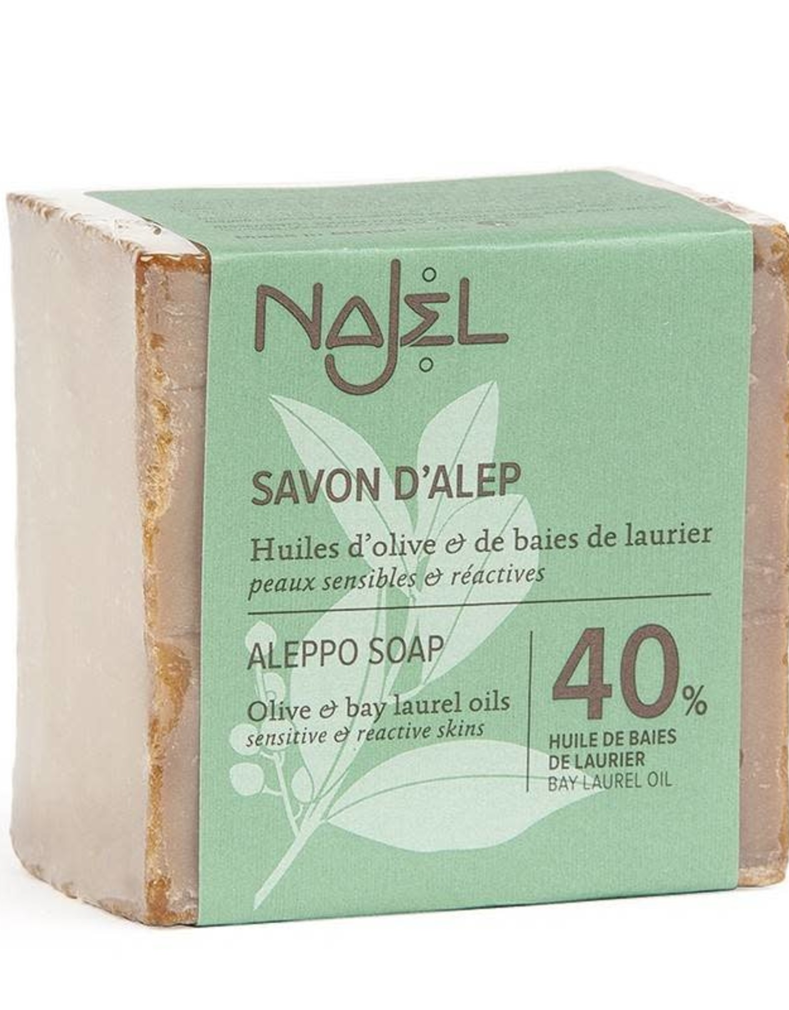 Najel Aleppo zeep laurier olie 40% sensitive & reactive skin 100 g
