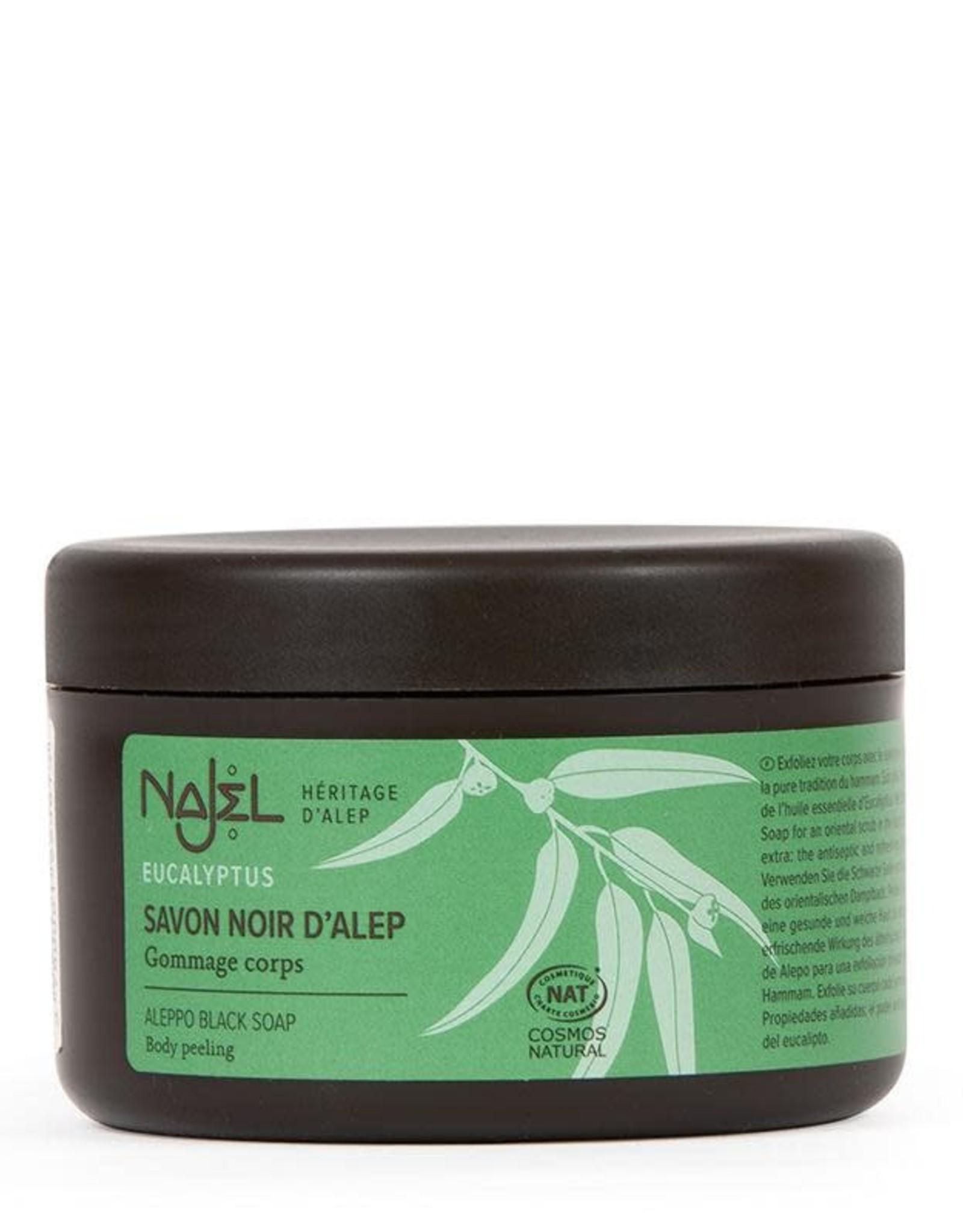 Najel Aleppo zeep scrub zwart eucalyptus 180 g