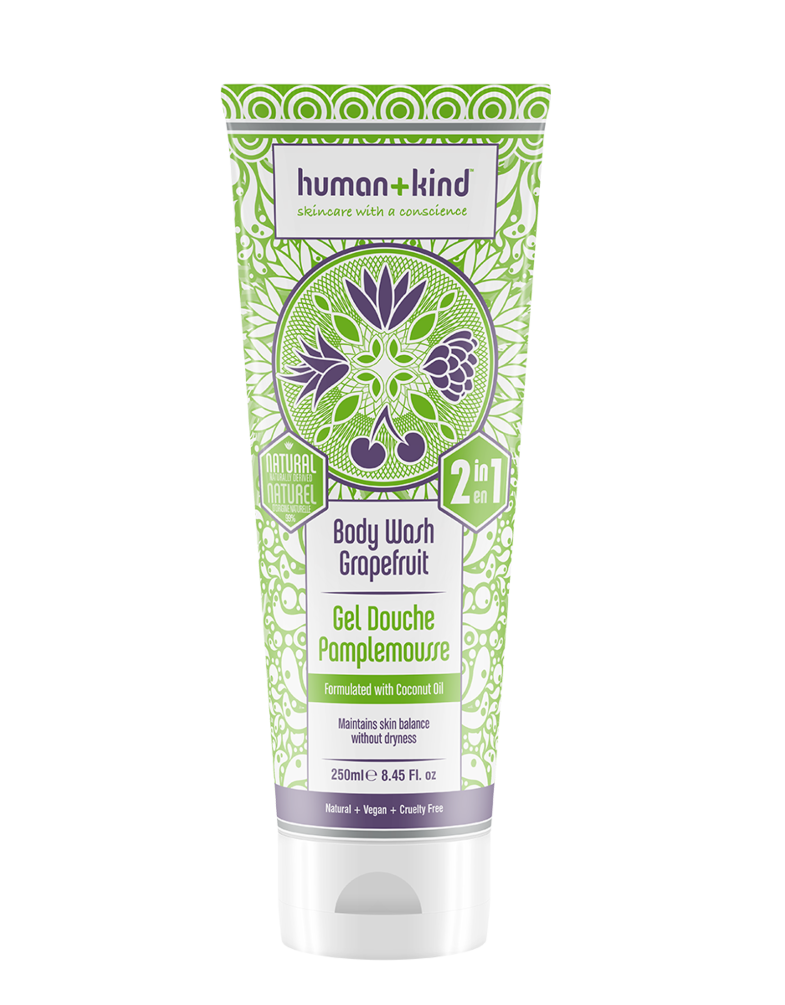 human+kind 2 in 1 Bodywash Grapefruit Vegan 250ml