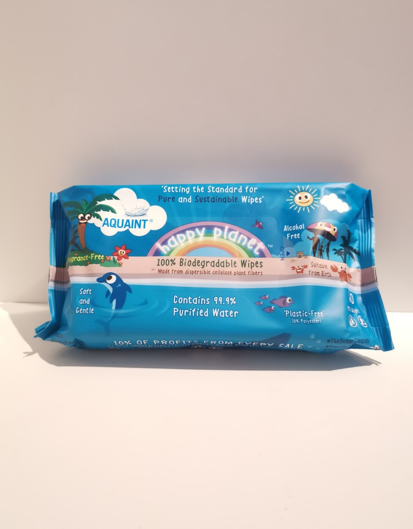 Aquaint Happy Planet - biodegradable Wipes - 60 eco wipes