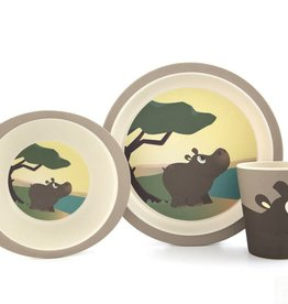 Yuunaa Bamboo Kids Set - Hippo - 3 pieces
