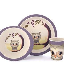 Yuunaa Bamboo Kids Set - Owl - 3 pieces