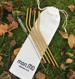 mon.MO Reusable Bent Straws - GOLD - 6mm - 4 stuks + brush
