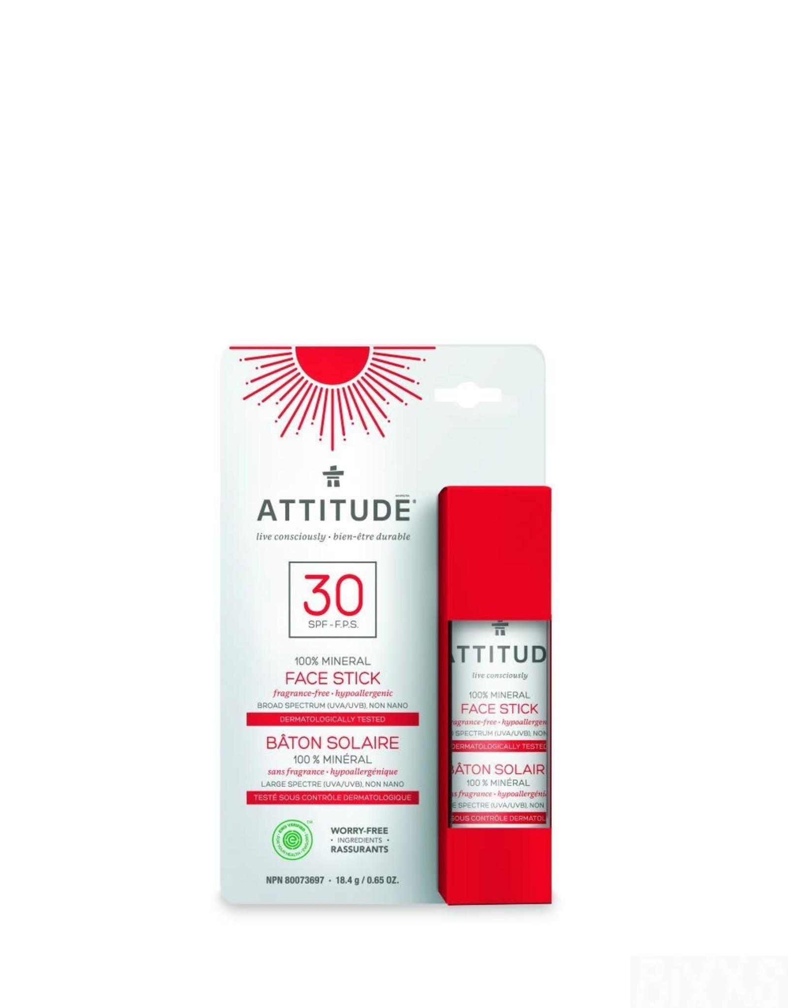 Attitude Zonnebrandcreme - Gezichts- en Lipstick SPF30 - fragrance free 18.4g
