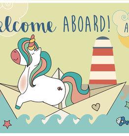 Roos met Witte Stippen Postkaart Welcome Aboard